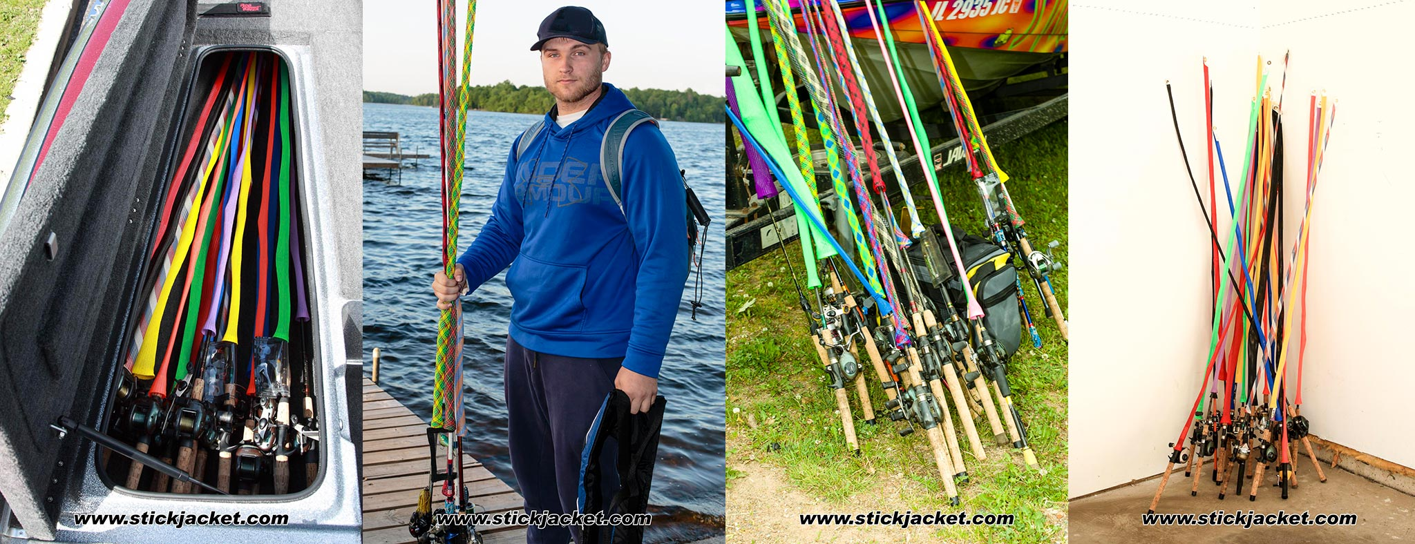 Stick Jackets Tame the Tangle in the rod locker, on the dock, in the garage